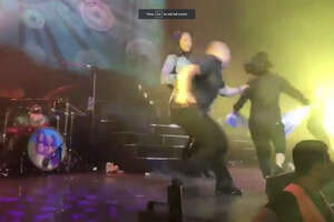 A screenshot of video footage shows a security guard grabbing singer Becky G during a Fifth Harmony concert in Argentina on Oct. 2, 2017. Reportedly, the security guard mistook Becky G for a crazed fan.
