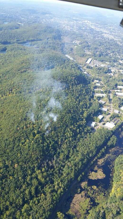 An aerial photo that was taken of the brush fire in Terra Haute in Bethel Wednesday taken as crews were attempting to asses the area under fire. Photo: /Contributed