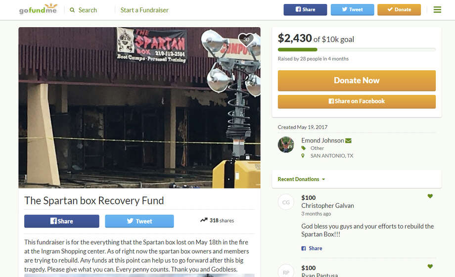 On May 19, 2017, Emond Johnson set up a gofundme fundraising account following the fire at The Spartan Box gym, a blaze that claimed the life of firefighter Scott Deem. Photo: Gofundme/The Spartan Box Recovery Fund