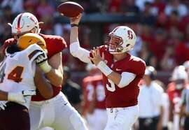 PALO ALTO, CA - SEPTEMBER 30:  K.J. Costello #3 of the Stanford Cardinal passes the ball against the Arizona State Sun Devils at Stanford Stadium on September 30, 2017 in Palo Alto, California.  (Photo by Ezra Shaw/Getty Images)