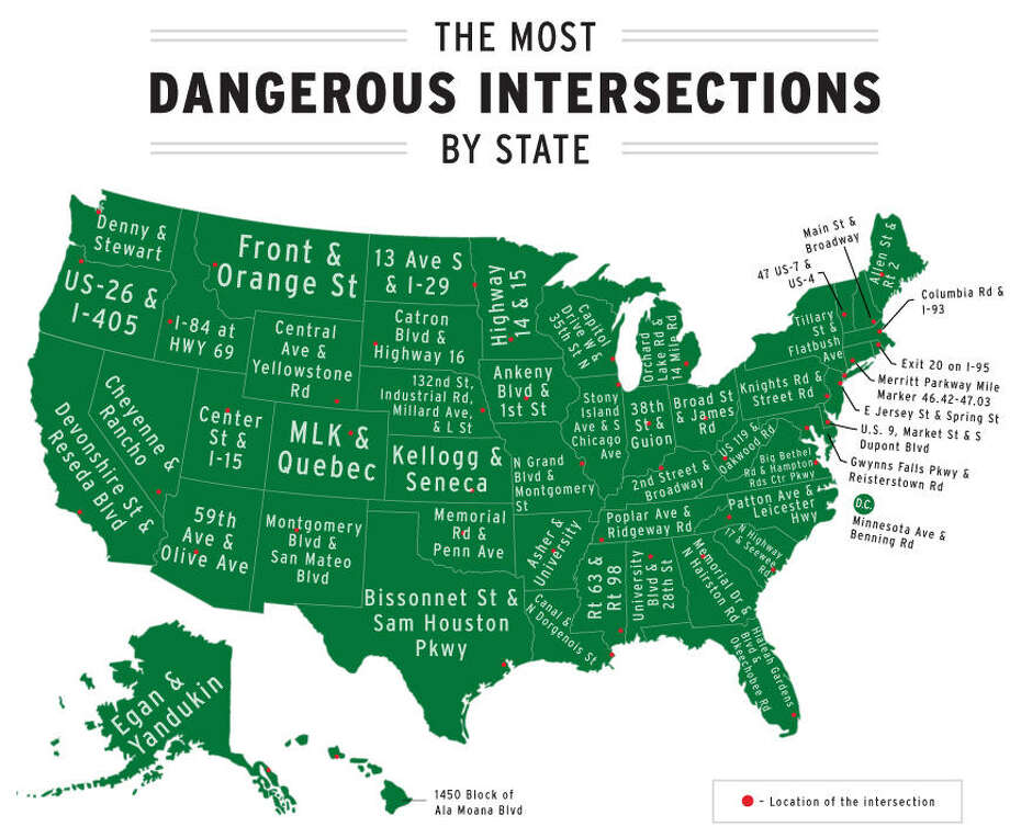 The law offices of Rubens and Kress laid out where the most dangerous intersections are in each state and Texas' is Bissonnet St. and Sam Houston Pkwy in Houston. To see the other 24 most dangerous intersections in Houston, continue through the photos. Photo: Courtesy Of Rubens And Kress
