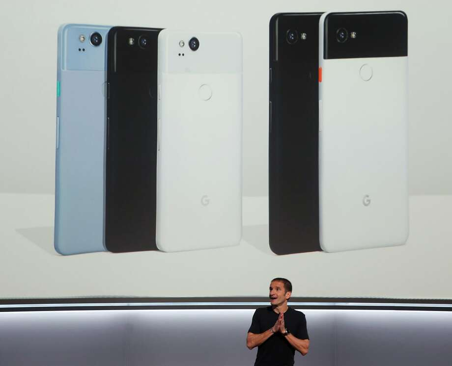Mario Queiroz announces the Google Pixel 2 and Pixel 2 XL mobile phones, starting at $649 for the 5-inch version and $849 for the 6-inch one. Photo: Paul Chinn, The Chronicle