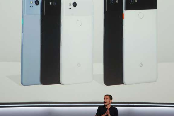 Mario Queiroz announces the Google Pixel 2 and Pixel 2 XL mobile phones at a news conference for tech reporters in San Francisco, Calif. on Wednesday, Oct. 4, 2017.
