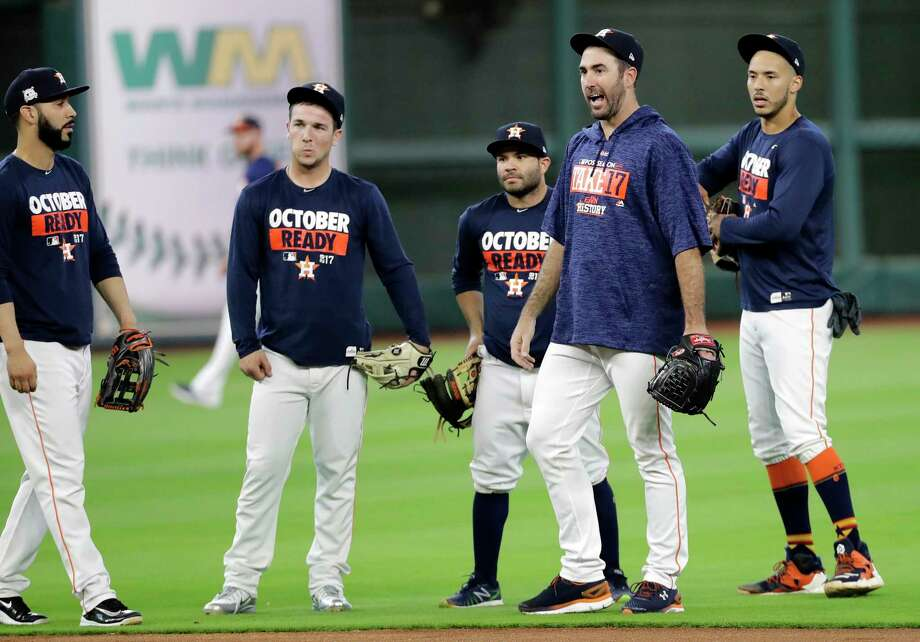 Houston Astros, from left to right, Marwin Gonzalez, Alex Bregman, Jose Altuve, Justin Verlander and Carlos Correa watch during practice for baseball's American League Division Series, Wednesday, Oct. 4, 2017, in Houston. The Astros face the Boston Red Sox Thursday in Game 1 of the ALDS. (AP Photo/David J. Phillip) Photo: Associated Press / Copyright 2017 The Associated Press. All rights reserved.
