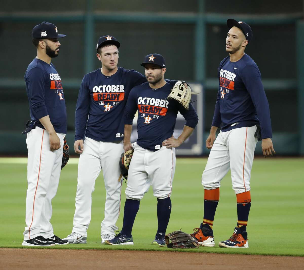 Houston Astros Marwin Gonzalez, Alex Bregman, Jose Altuve, and Carlos Correa during batting practice at Minute Maid Park, Wednesday, Oct. 4, 2017, in Houston, as they prepare to take on the Boston Red Sox in the ALDS playoffs. ( Karen Warren / Houston Chronicle )