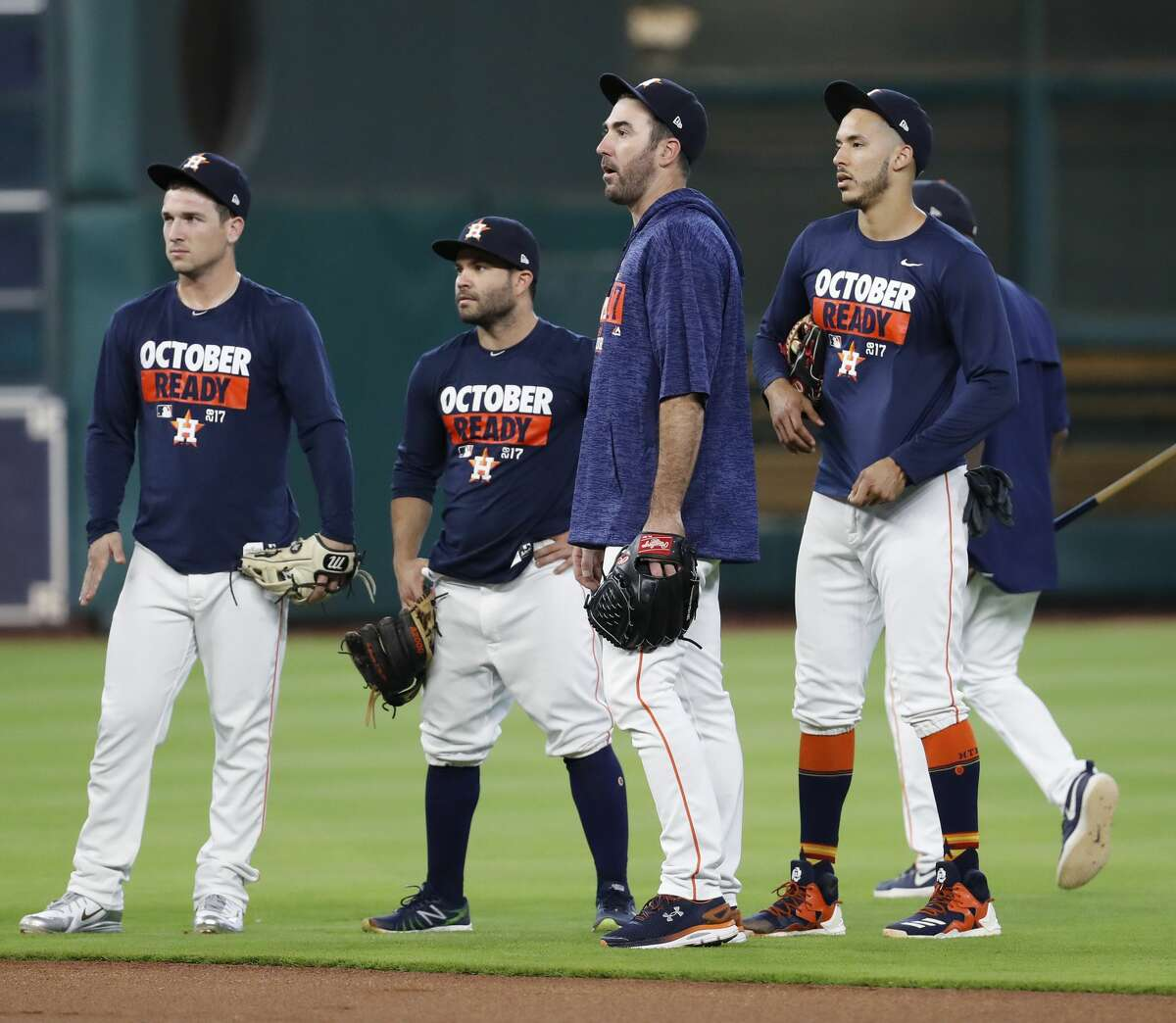 Houston Astros pitcher Justin Verlander chats with Carlos Correa, Jose Altuve, and Alex Bregman during batting practice at Minute Maid Park, Wednesday, Oct. 4, 2017, in Houston, as they prepare to take on the Boston Red Sox in the ALDS playoffs. ( Karen Warren / Houston Chronicle )