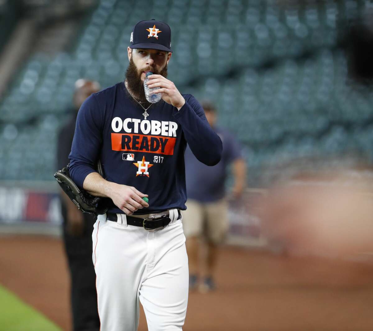 Houston Astros pitcher Dallas Keuchel during batting practice at Minute Maid Park, Wednesday, Oct. 4, 2017, in Houston, as they prepare to take on the Boston Red Sox in the ALDS playoffs. ( Karen Warren / Houston Chronicle )