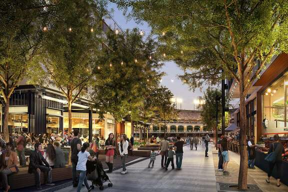 A rendering of the main retail street that will run from north to south through the Mission Rock development