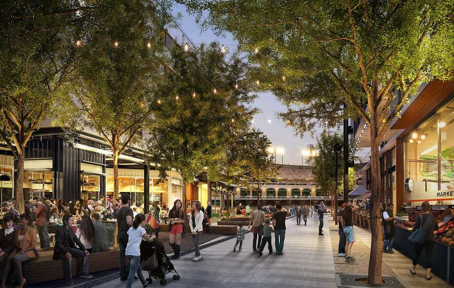 A rendering of the main retail street that will run from north to south through the Mission Rock development Photo: San Francisco Giants
