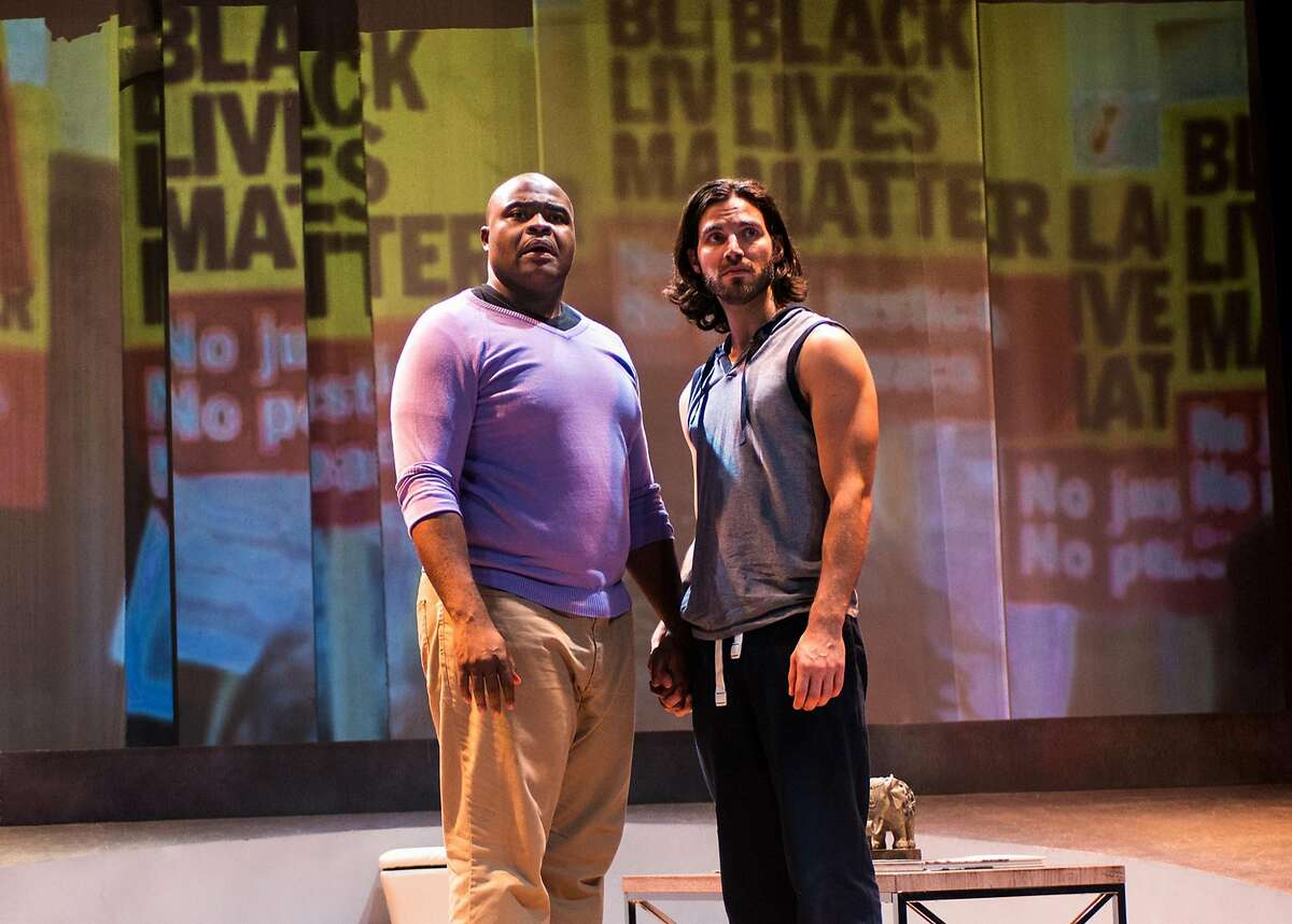 From left: Jesse (H. Adam Harris) meets his lover Neil (Michael Hanna) at a Black Lives Matter protest in New Conservatory Theatre Center's