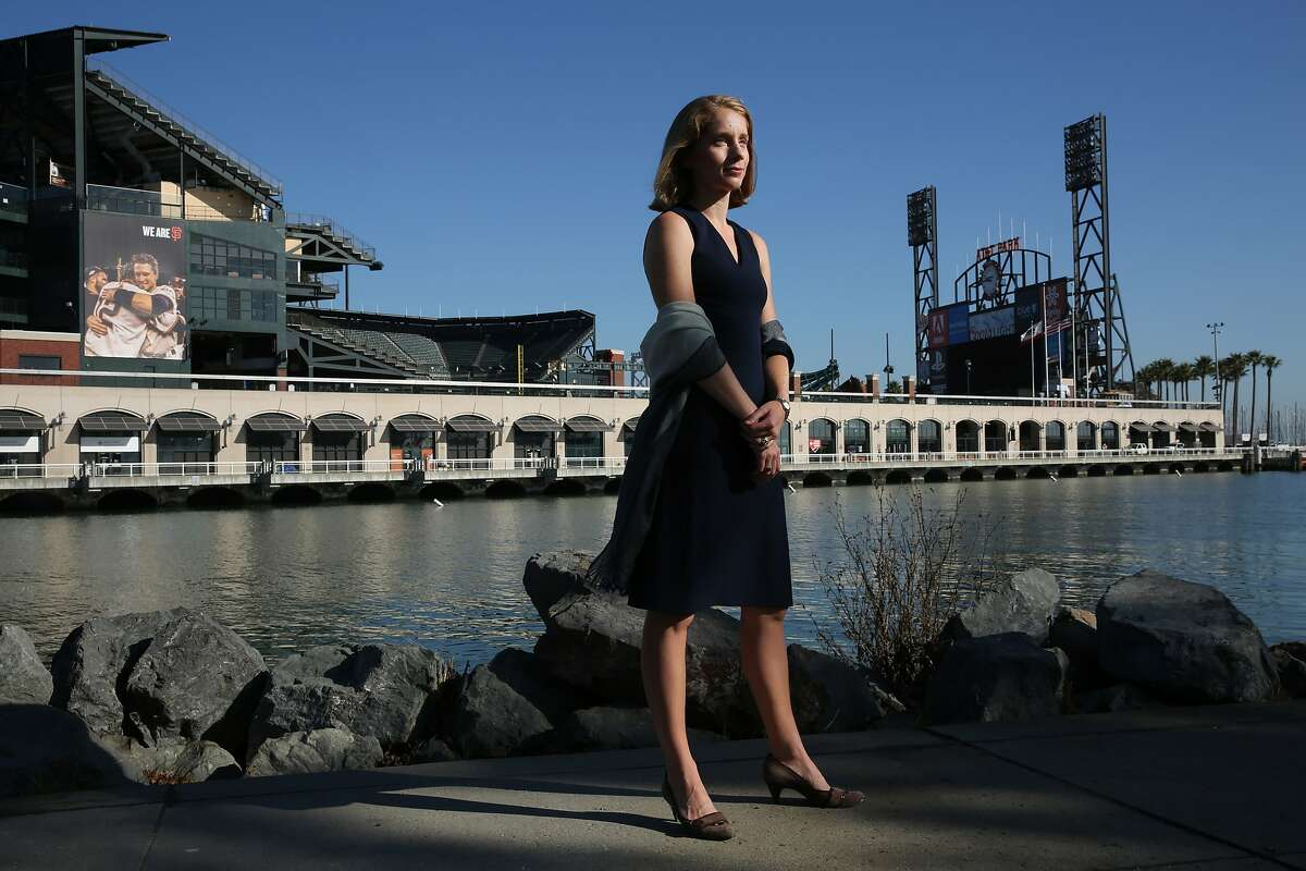Fran Weld, who is the Vice President of Strategy and Development of the San Francisco Giants, stands for a portrait outside AT&T Park on Wednesday, Oct. 4, 2017, in San Francisco, Calif.