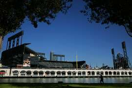 AT&T Park, the ballpark of the San Francisco Giants, seen on Wednesday, Oct. 4, 2017, in San Francisco, Calif.