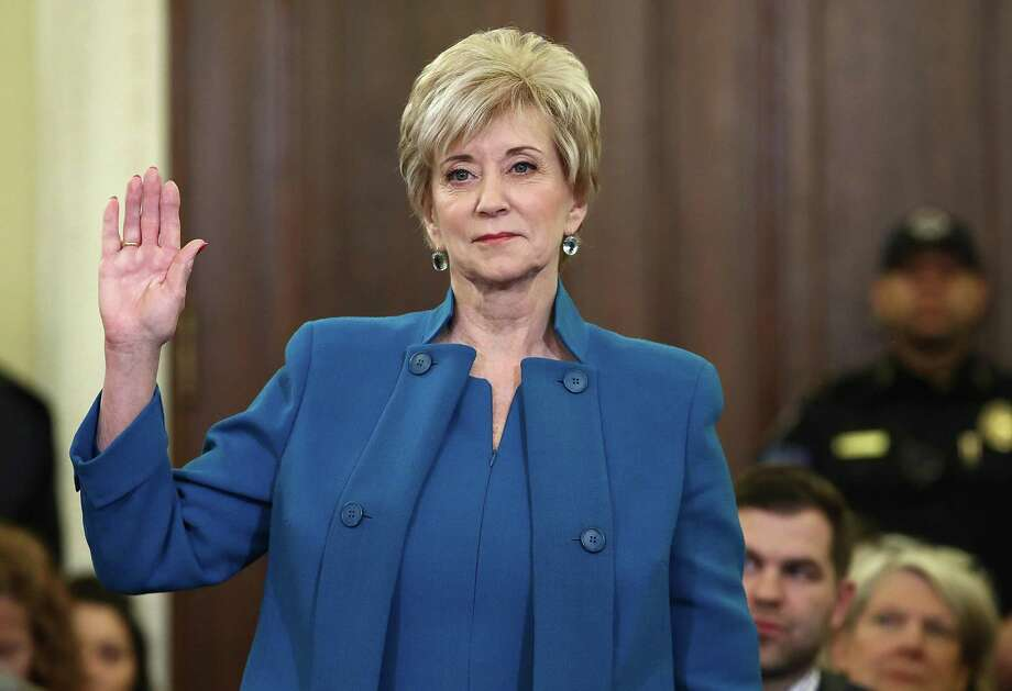 Linda McMahon, U.S. President Donald Trump's nominee to be administrator of the Small Business Administration, is sworn in prior to testimony before the Senate Small Business and Entrepreneurship Committee in January 24, 2017 in Washington, D.C. The committee heard testimony on McMahon's nomination to the position.  (Photo by Win McNamee/Getty Images) *** BESTPIX *** Photo: Win McNamee / Getty File Photo / 2017 Getty Images