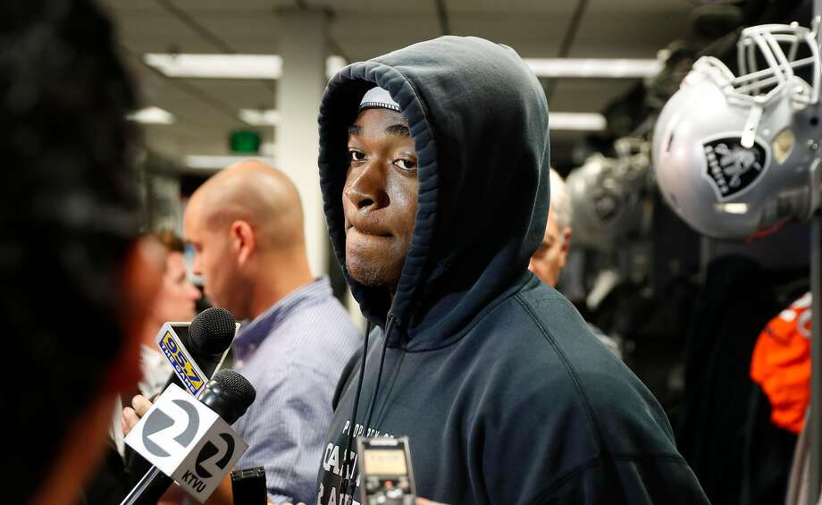 Raiders' receiver Amari Cooper addresses the media at the Oakland Raiders training facility, in Oakland  Ca., on Wed. Oct. 4, 2017. Photo: Michael Macor / The Chronicle