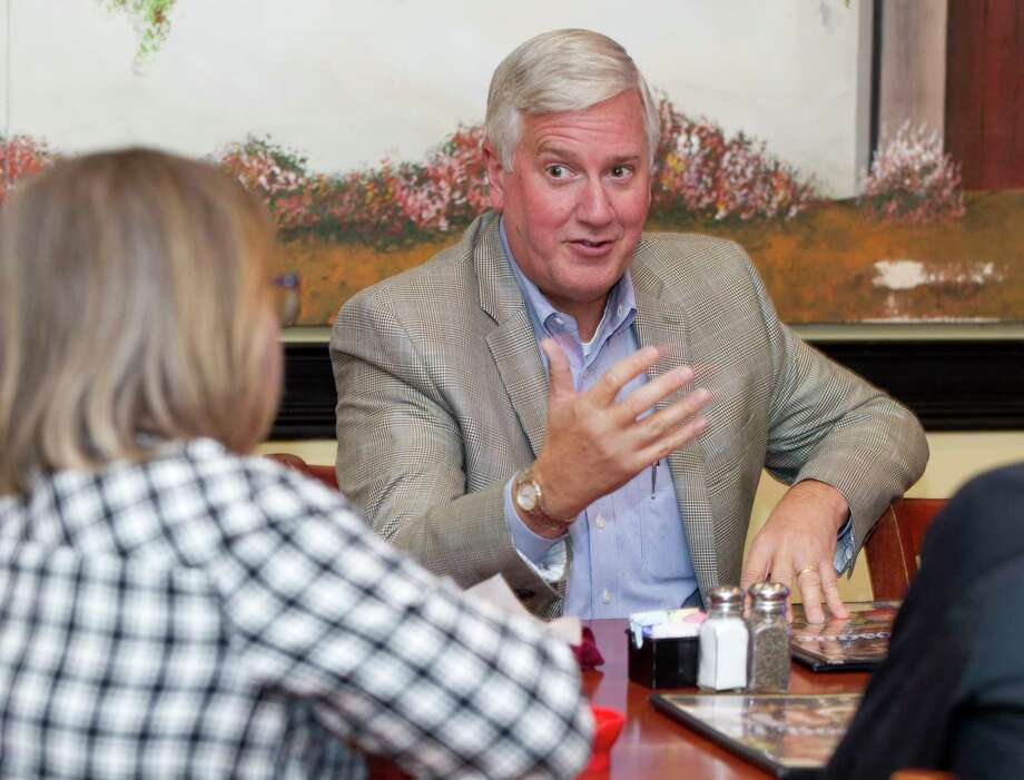 Mike Collier, Democratic candidate for Lt. Governor, speaks about his plans for school finance reform and property taxes at El Bosque Mexican Grill, Tuesday, Oct. 3, 2017, in Shenandoah. Collier challenges incumbent Republican Dan Patrick in the 2018 election. Photo: Jason Fochtman, Staff Photographer / © 2017 Houston Chronicle