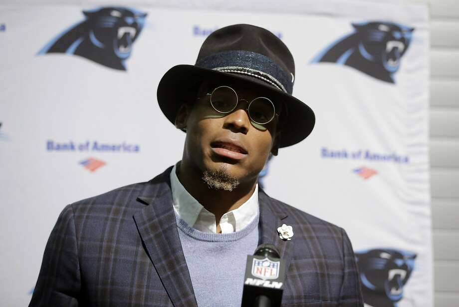 Carolina Panthers quarterback Cam Newton speaks to the media following an NFL football game against the Carolina Panthers, Sunday, Oct. 1, 2017, in Foxborough, Mass. (AP Photo/Steven Senne) Photo: Steven Senne, Associated Press