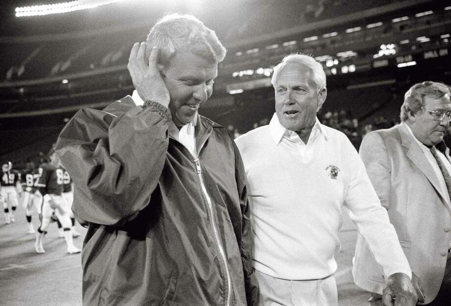 With Mark Stevens, top, subbing for Joe Montana, 49ers head coach Bill Walsh, above right, beat Giants head coach Bill Parcells, above left, using replacement players in 1987. Photo: Susan Ragan / AP / AP