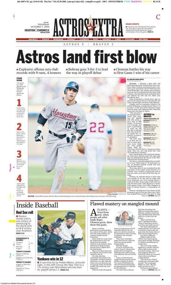The Houston Chronicle's Oct. 7, 2004, sports section front page after the Astros' Game 1 win over the Braves in the NLDS. Photo: Houston Chronicle Archives