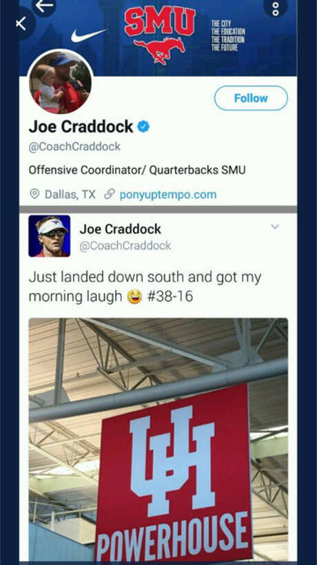 SMU offensive coordinator Joe Craddock's tweet mocking a sign at a Houston airport. The 38-16 hashtag is a reference to the Mustangs' victory over the Cougars in 2016. Photo: Twitter