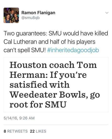 Former SMU quarterback Ramon Flanigan's tweet in response to Tom Herman's digs at the Mustangs' program.
