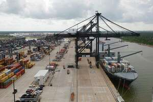 A crane at the Port of Houston Authority, Bayport Container Terminal unloads the SEALAND LOS ANGELES June 22, 2016, in Seabrook.  ( James Nielsen / Houston Chronicle )