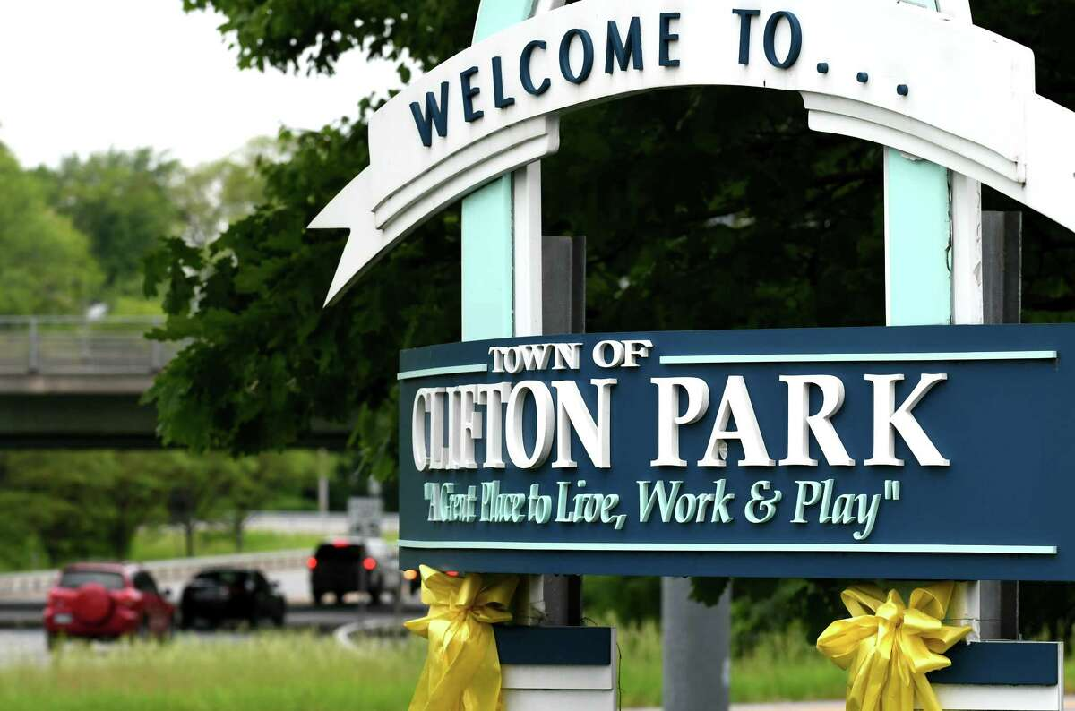 Sign at the entrance to Clifton Park on Route 146 in Clifton Park, N.Y. (Will Waldron/Times Union)