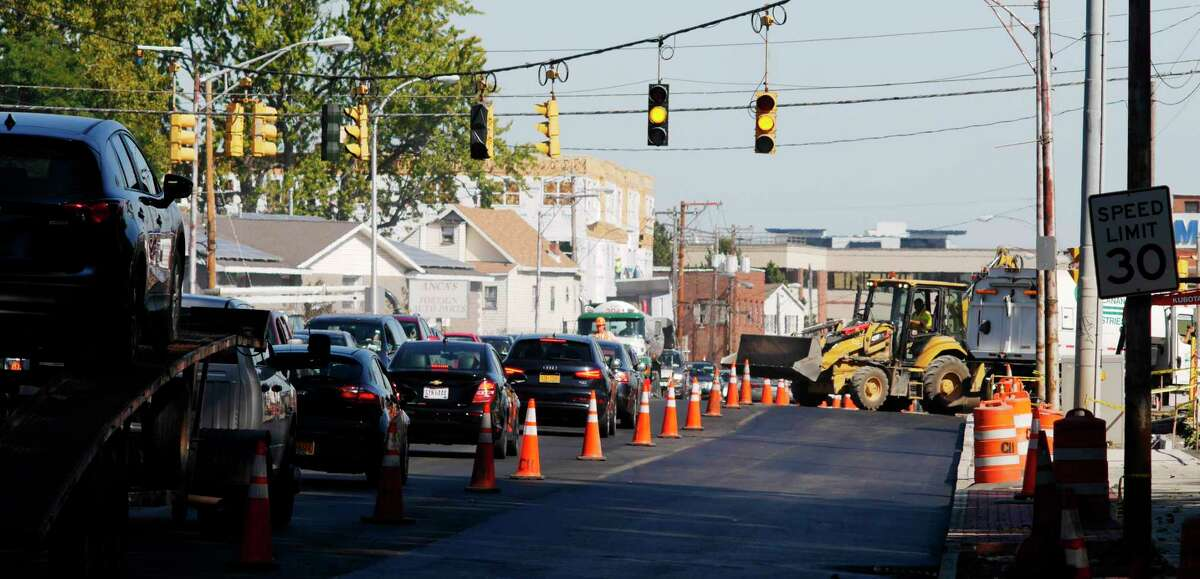 Some lanes are closed off to traffic as construction work continues on Erie Boulevard on Wednesday, Oct. 4, 2017, in Schenectady, N.Y. (Paul Buckowski / Times Union)