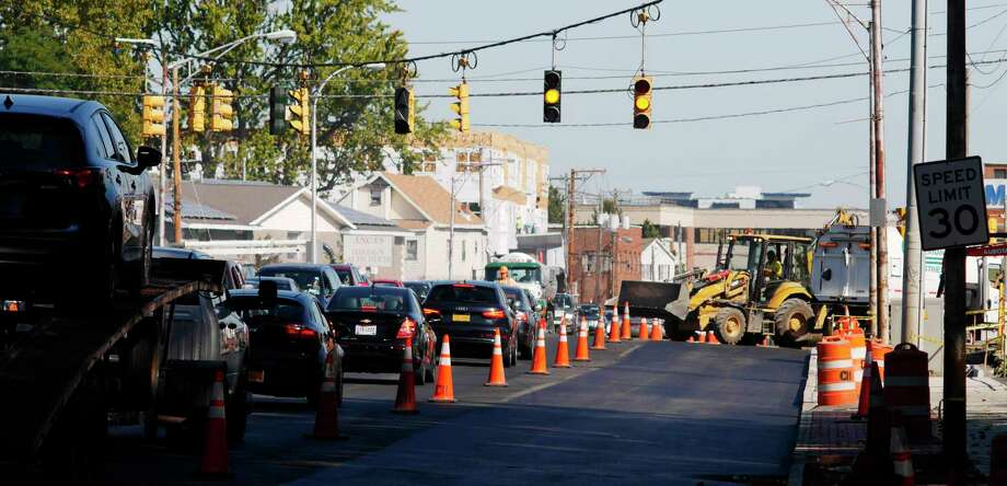 Some lanes are closed off to traffic as construction work continues on Erie Boulevard on Wednesday, Oct. 4, 2017, in Schenectady, N.Y.    (Paul Buckowski / Times Union) Photo: PAUL BUCKOWSKI / 20041753A