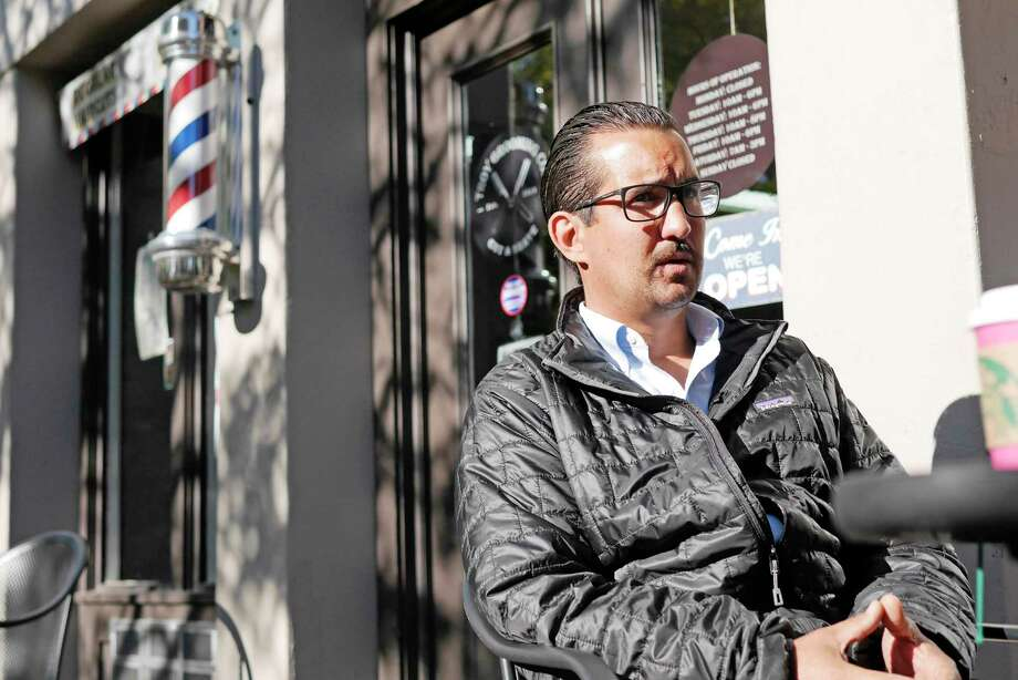 Jamie Magur, who is running for Troy City Council, talks about his life during an interview outside his barber shop, Troy Grooming Co., on Wednesday, Oct. 4, 2017, in Troy, N.Y.    (Paul Buckowski / Times Union) Photo: PAUL BUCKOWSKI / 20041750A