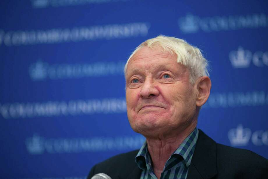 Dr. Joachim Frank of Columbia University speaks during a press conference after being awarded the Nobel Prize in Chemistry on October 4, 2017 in New York City. Frank and researchers Jacques Dubochet and Richard Henderson were awarded for developing a technique called cryo-electron microscopy (cryo-EM), which simplifies the process for looking at the machinery of life.  Photo: Kevin Hagen, Getty Images / 2017 Getty Images