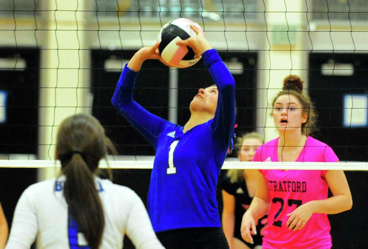 Bunnell's Gabby Shannon sets the ball during girls volleyball action against Stratford in Stratford, Conn. on Wednesday, Oct. 4, 2017.
