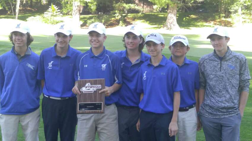 Members of the Saratoga Springs boys' golf team, winners Wednesday, Oct. 4, 2017, of the Section II Class A golf championship at McGregor Links. From left: Brendan Joyce, A.J. Cavotta, Ethan Mania, Dylan Finnegan, Will Braxton, Clarkie Carroll and Nolan Crowley. (Pete Dougherty/Times Union)