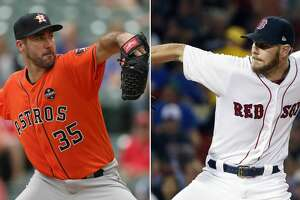 Split photo of Astros pitcher Justin Verlander and Red Sox pitcher Chris Sale.