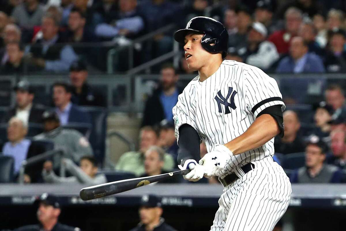 NEW YORK, NY - OCTOBER 03: Aaron Judge #99 of the New York Yankees hits a two run home run against Jose Berrios #17 of the Minnesota Twins during the fourth inning in the American League Wild Card Game at Yankee Stadium on October 3, 2017 in the Bronx borough of New York City. (Photo by Al Bello/Getty Images) ORG XMIT: 775053345