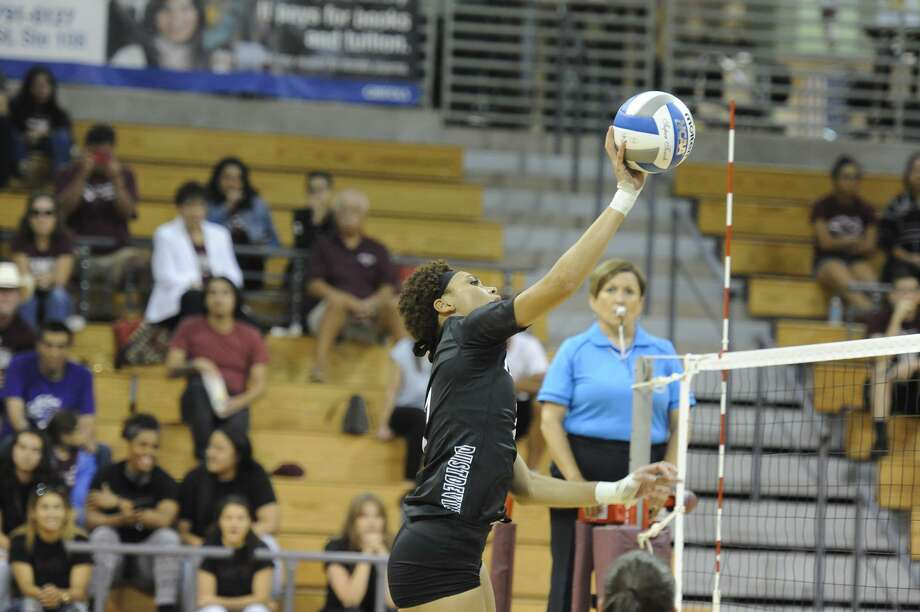 Panebi Shirey and the Dustdevils volleyball team play the top two teams in the Heartland Conference this week on the road in Arkansas-Fort Smith and Newman. Photo: Courtesy Of TAMIU Athletics