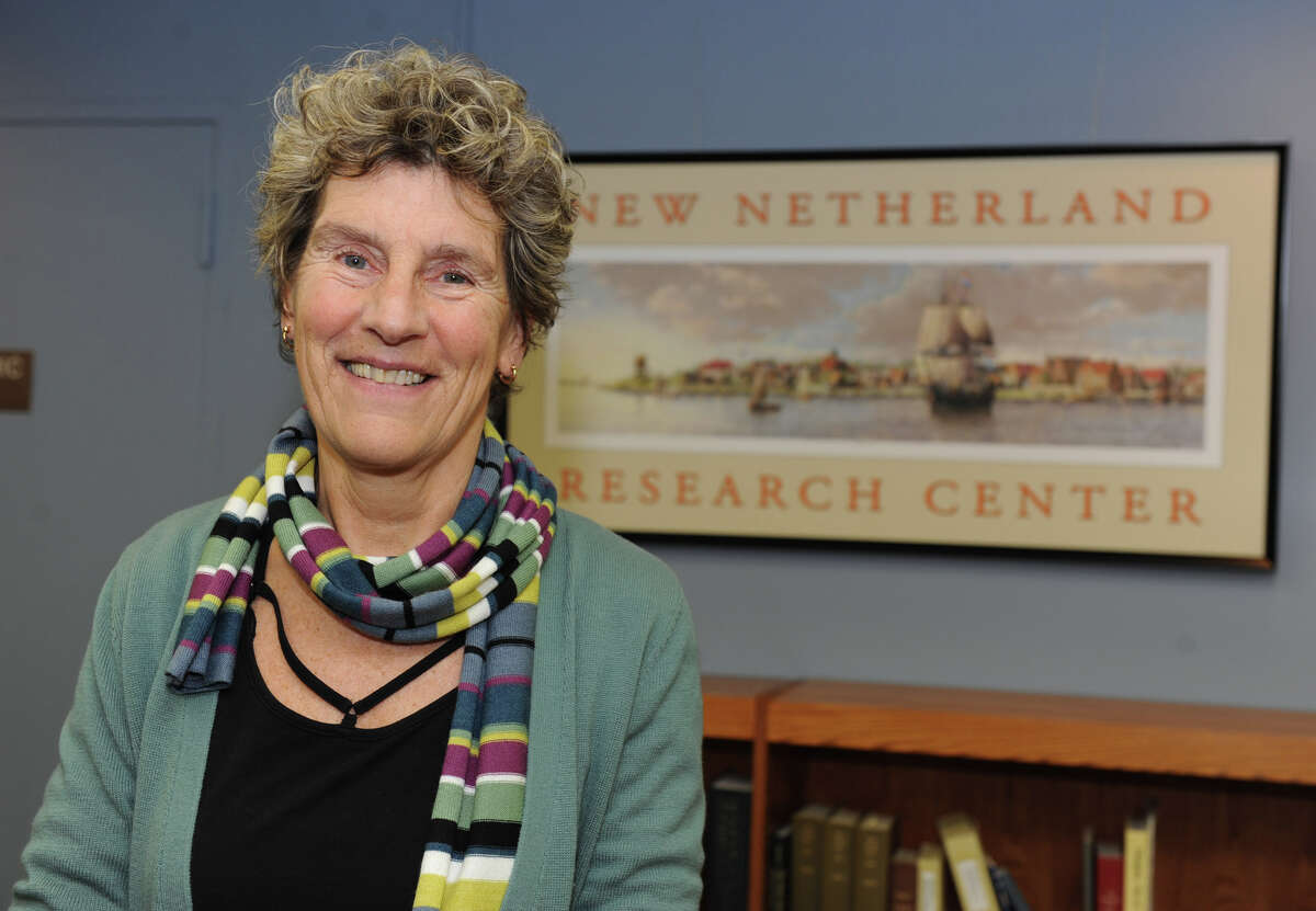 Janny Venema in the New Netherland Research Center in the New York State Library in 2012. (Lori Van Buren / Times Union)