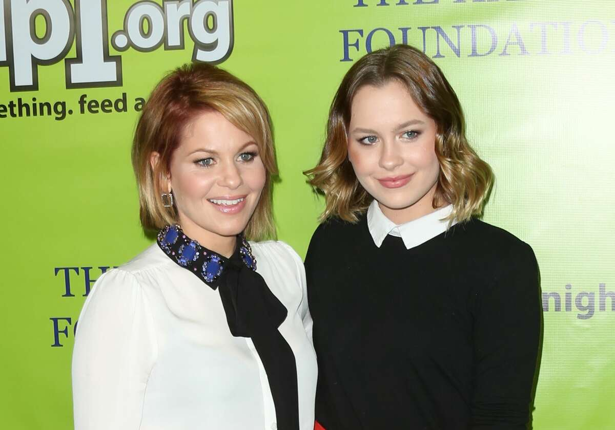 Actress Candace Cameron-Bure (L) and her Daughter Singer Natasha Bure (R) attend the Skip1 Night at Loews Hollywood Hotel on October 15, 2016 in Hollywood, California.