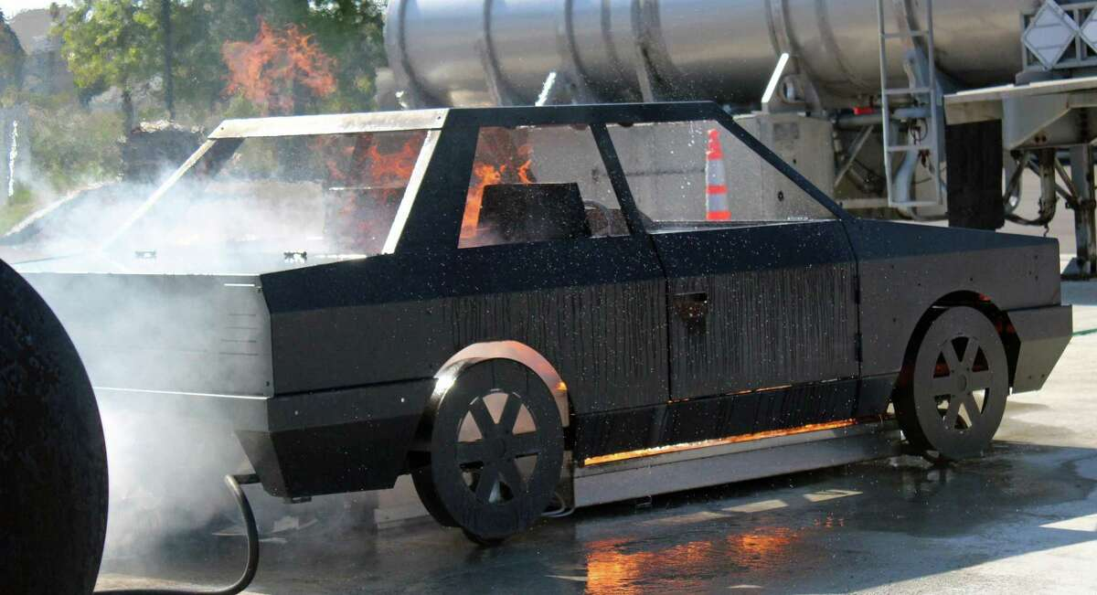 Firefighters can train on a car fire simulator at the Fairfield Regional Fire School. The school showed off its capabilities at an open house Wednesday. Fairfield,CT. 10/4/17