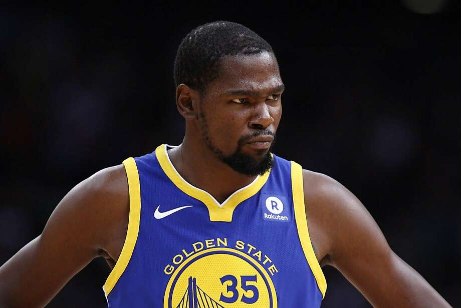 Kevin Durant #35 of the Golden State Warriors looks on during the game between the Minnesota Timberwolves and the Golden State Warriors as part of 2017 NBA Global Games China at Universidade Center on October 5, 2017 in Shenzhen, China. Durant Co., owned by the basketball player and his manager, recently purchased a stake in Pieology.  Photo: Zhong Zhi, Getty Images
