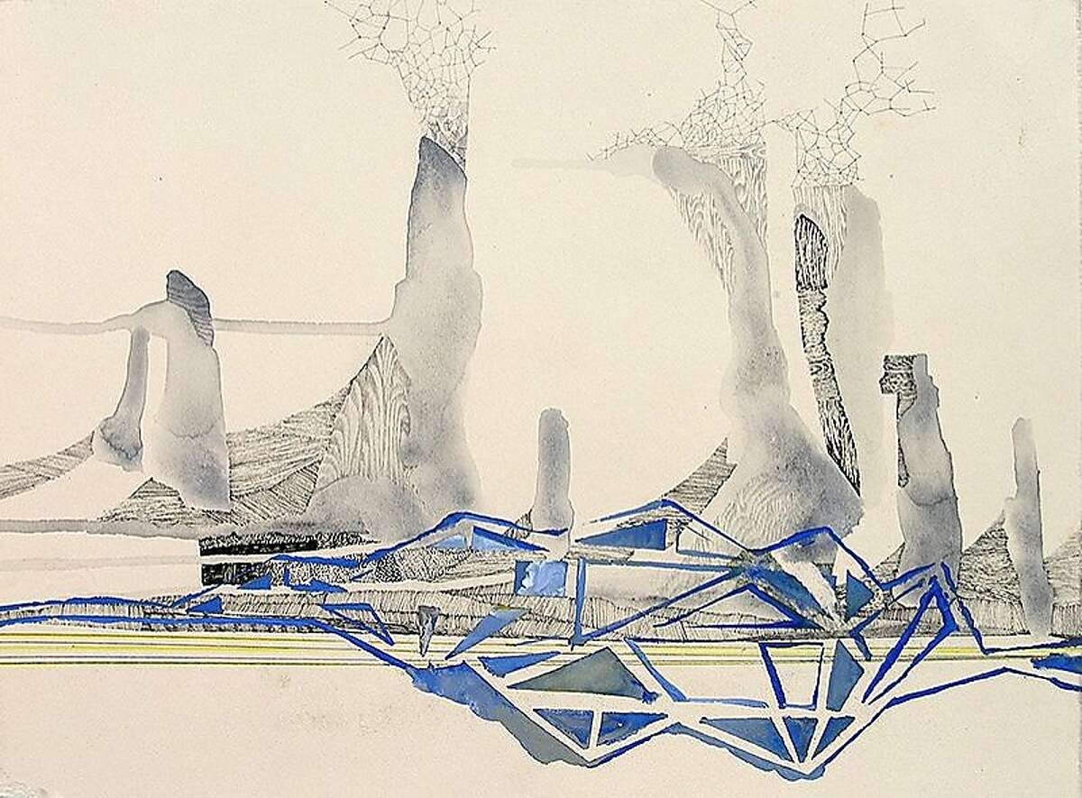 """Hughen/Starkweather Requiem 7 (from the Bay Bridge Project), 2013 Gouache, pencil, and ink on paper 8.25"""" x 10.75"""""""