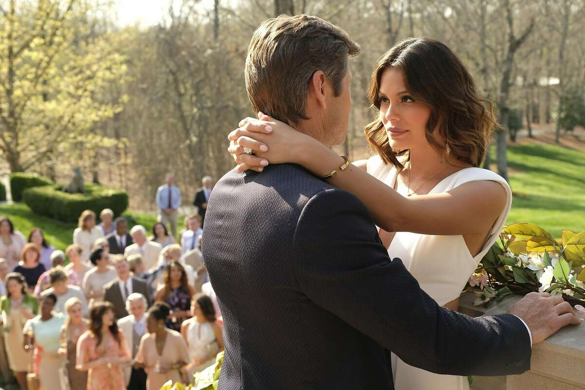 The happy couple -- Blake Carrington (Grant Show) and Cristal Flores (Nathalie Kelley) -- on their wedding day. But as is usual on prime-time soaps, such as