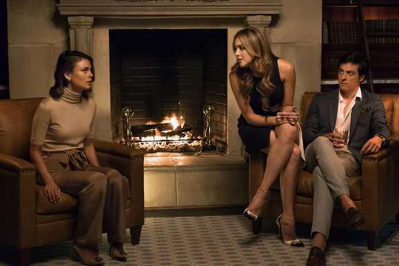 """While Fallon (Elizabeth Gillies) instantly hates her new stepmom (Nathalie Kelley), brother Steven (James MacKay) appreciates her ability to make his dad happy in the new """"Dynasty"""" on The CW."""
