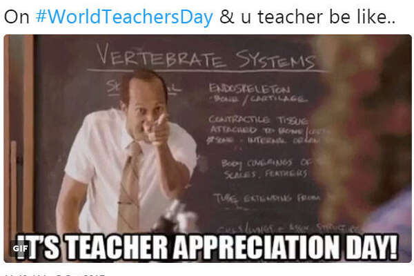 """On #WorldTeachersDay & u teacher be like..""  Source:  Twitter"