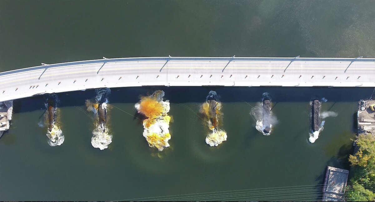 Drone photos in sequence of the implosion of the piers of the former Cohoes Waterford Bridge Thursday morning October 5, 2017. (Kevin P. Coughlin/Office of Governor Andrew M. Cuomo)