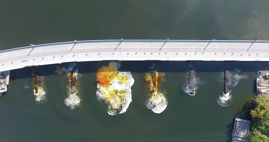 Keep clicking for photos of structures we've blown up or torn down in the Capital Region. Drone photos in sequence of the implosion of the piers of the former Cohoes Waterford Bridge Thursday morning October 5, 2017. (Kevin P. Coughlin/Office of Governor Andrew M. Cuomo) Photo: Kevin P. Coughlin/Office Of Governor Andrew M. Cuomo