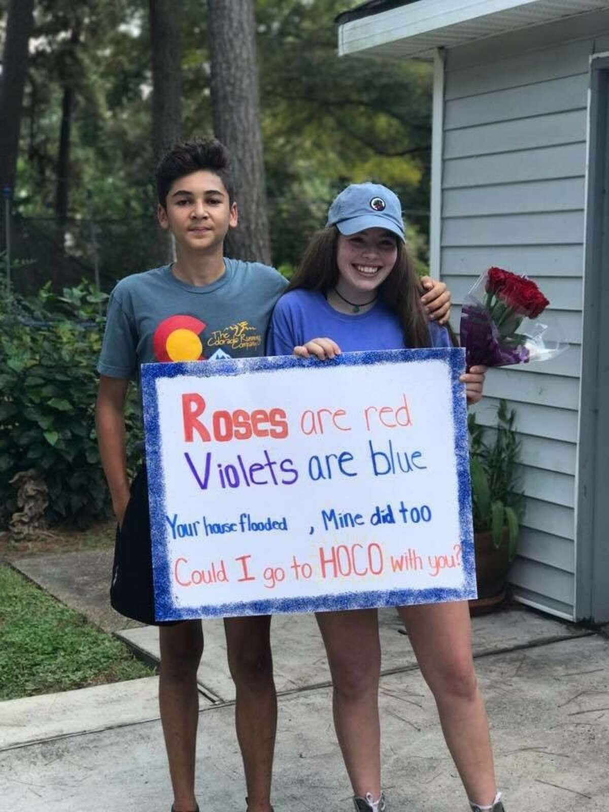 Caleb Budde, 14, asked Casey Smoot to Kingwood Park High School's Homecoming dance with a creative Harvey-themed invitation. PHOTO: Homecoming mums that got out of hand
