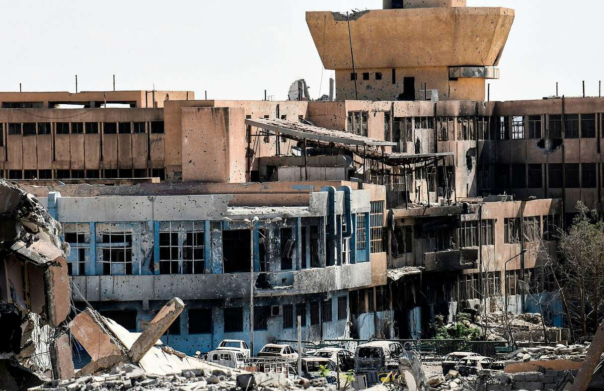 A general view shows the damaged central hospital of Raqa which is one one Islamic State group's last positions on the frontline in Raqa on October 1, 2017. Syrian fighters backed by US special forces are battling to clear the last remaining Islamic State group jihadists holed up in their crumbling stronghold of Raqa. / AFP PHOTO / BULENT KILICBULENT KILIC/AFP/Getty Images