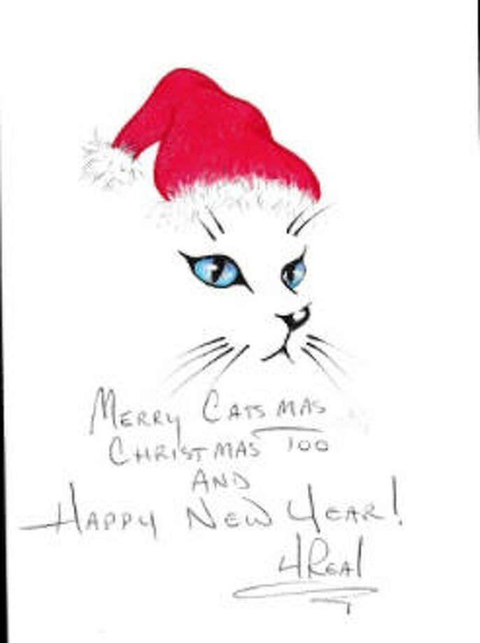A cat-themed Christmas card believed to be drawn by serial killer Anthony Shore is available for purchase online. Photo: True Crime Auction House