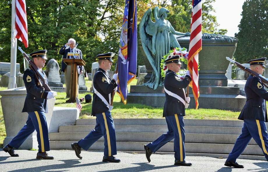 A NY Army National Guard Color Guard takes up their position during a gravesite ceremony for Chester A. Arthur, our 21st president, at Albany Rural Cemetery on the anniversary of his birth Thursday Oct. 5, 2017 in Menands, NY.  (John Carl D'Annibale / Times Union) Photo: John Carl D'Annibale, Albany Times Union / 20041743A