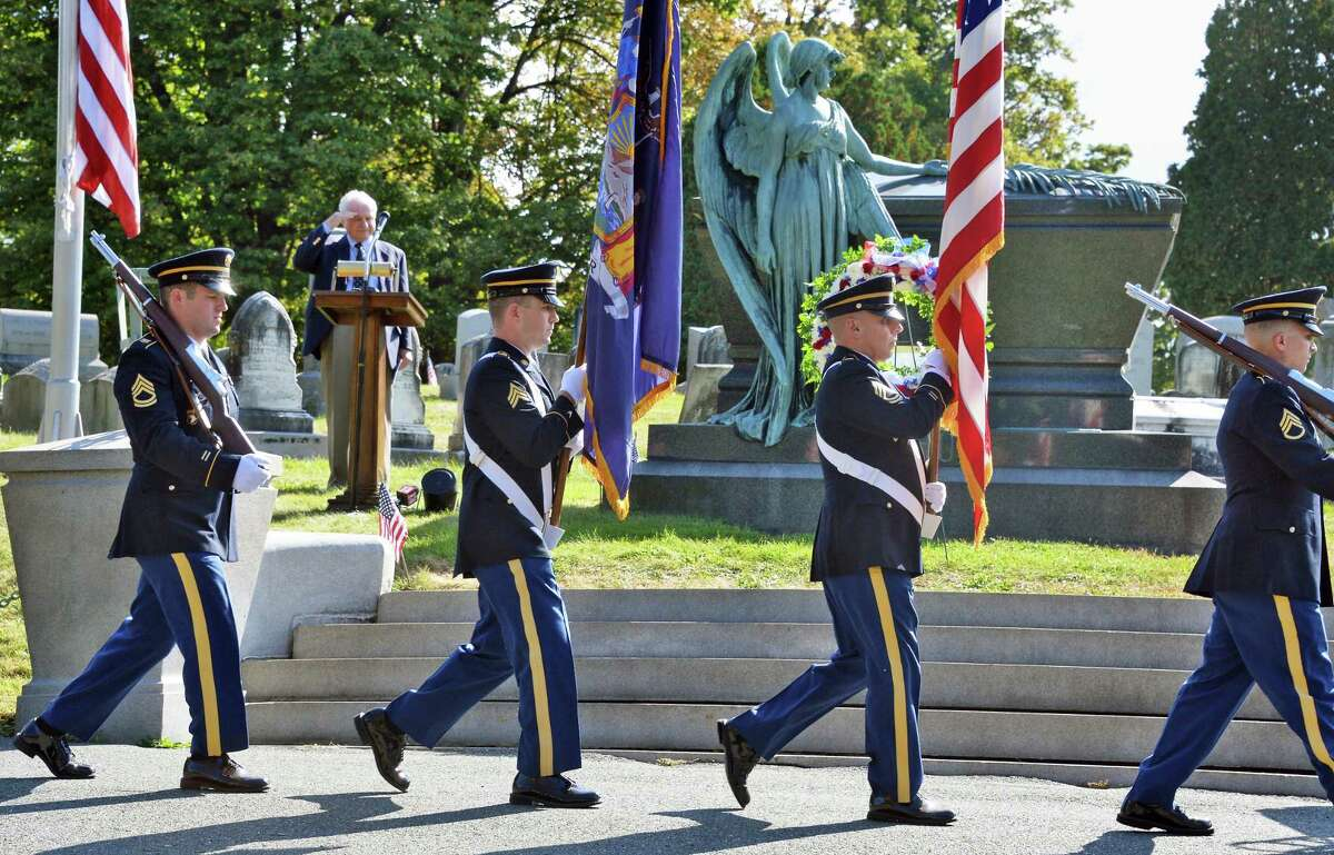 A NY Army National Guard Color Guard takes up their position during a gravesite ceremony for Chester A. Arthur, our 21st president, at Albany Rural Cemetery on the anniversary of his birth Thursday Oct. 5, 2017 in Menands, NY. (John Carl D'Annibale / Times Union)